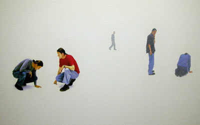 Kimowan McLain, Without Ground, photo transfer onto wall, 2002
